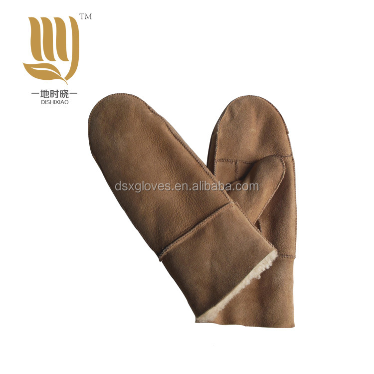 2018 New shell sheepskin leather glove, full finger fur gloves Made in China fur winter gloves