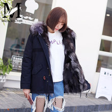 Hot Sales Winter's Fox Fur Lined Parka Germany Fur Coats With Removable Raccoon Fur Collar