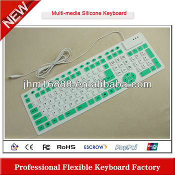 2012 new design wired silicon flexible multimedia keyboard