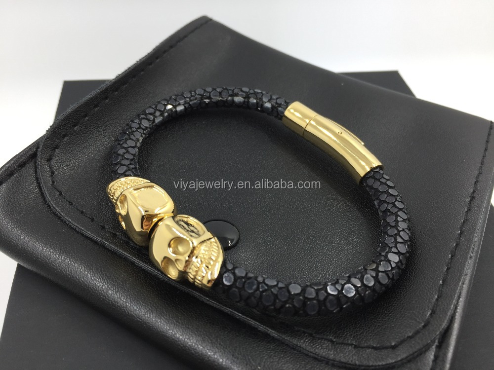 Luxury Men skull bracelet Python double skull North America skull Bracelet for men