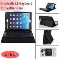 New 2014 Wireless Bluetooth Keyboard Case Cover Split type for Apple iPad Air iPad 5 Tablet Leather Case Bleutooth Kyeboard