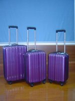 purple trolley luggage