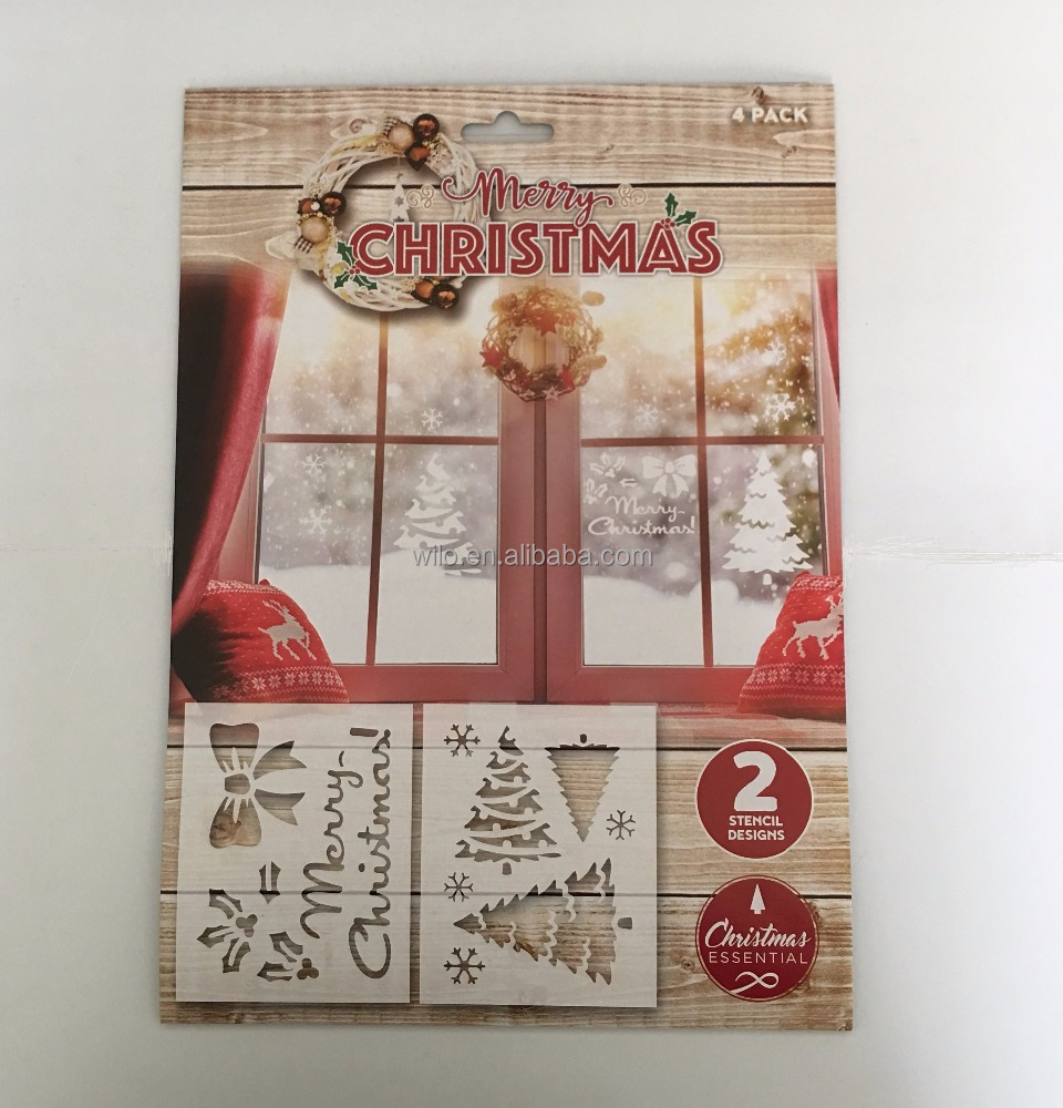 Merry Christmas pp stencil Christmas craft window decoration