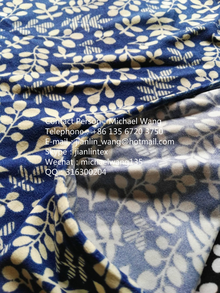 Jishengxiang Textile Polyester 4 Way Stretch Brushed Jersey Flower Pattern Printed Fabric