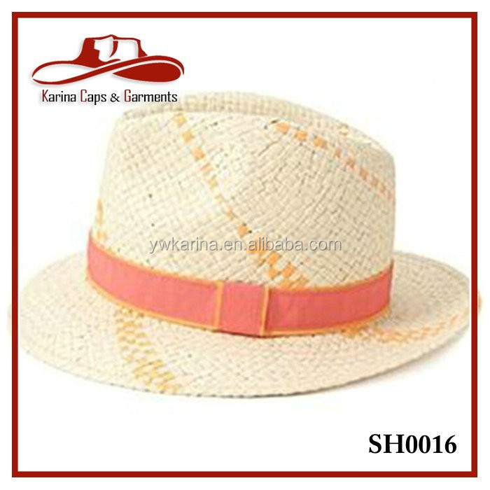 Cheap Fedora straw hats with ribbon summer straw hats for men