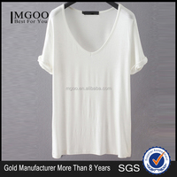 Women Plain White V Neck Loose Blank T-Shirts With Roll Sleeve Modal Soft Basic Top Short Sleeve