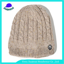 2017 promotional cheap winter warm knitted hats custom logo cable knit slouch beanie hat women for sale