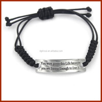 engrave words metal adjustable leather string bracelet