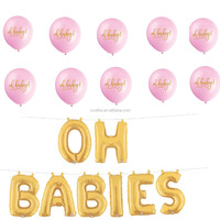 pink and gold Baby shower party favor gold foil balloons and on baby latex balloons decoration kit little mermaid party supplies
