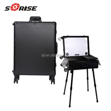 2018 professional makeup trolley case with lights portable makeup studio custom with logo