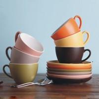 30cl 300cc Logo Decal Artwork Design Personalized Coffee Tea Cups Saucers Sets Stoneware Ceramic Porcelain