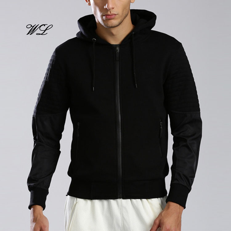 Man OEM Fancy Plain Polyester Hoody Leather Sleeve Stylish Track 5XL Hoodie Jacket