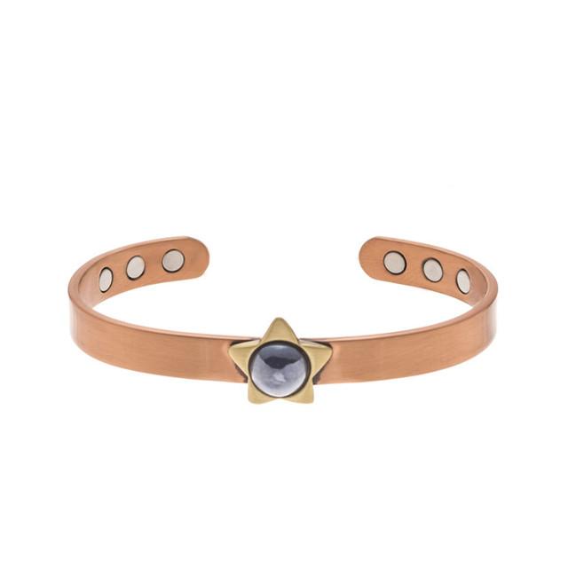 Wenfanqi fashion purple gemstone star charm design healthcare magnetic copper bracelet adjustable for women men