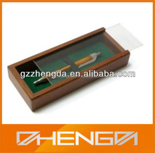 Best Sell custom made wooden pen display box with transparent slide lid (ZDS-F237)