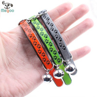 PU Leather Strong Footprint Light-reflecting Pet Cat Collar With Bell