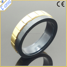 Fashion 316L Stainless Steel Rotatable Rings For Men Gold Black Male Ring Jewelry