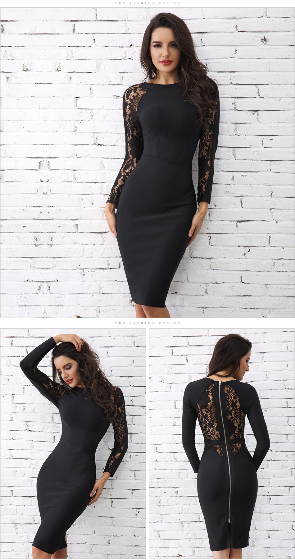 Adyce 19 Winter Elegant Lace Bandage Dress Women Black Floral Long Sleeve Hollow Out Clubwear Sexy Midi Celebrity Party Dress 6