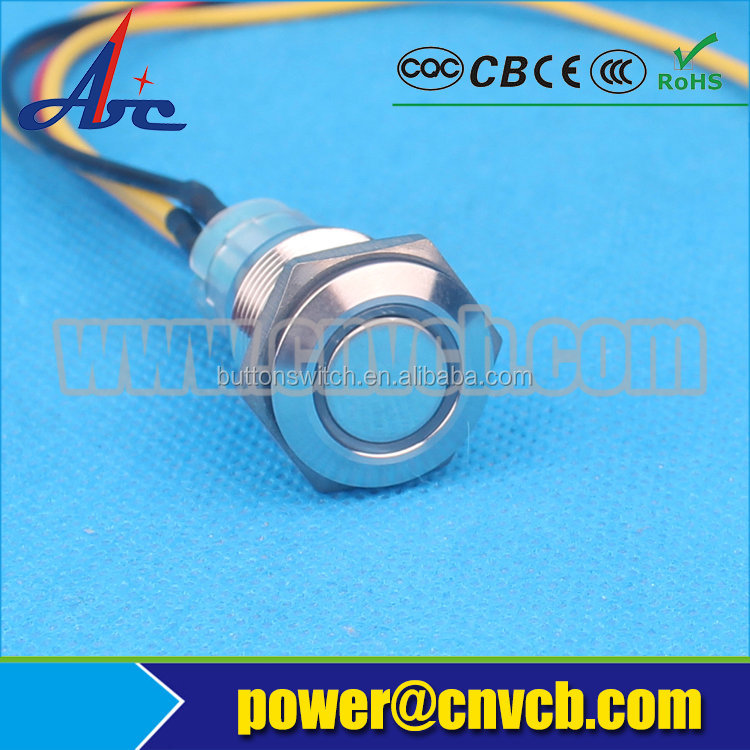 16145 16mm flat head ring illuminated ON-OFF latching waterproof <strong>switch</strong> IB12V Blue led push button with cable