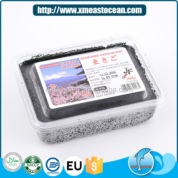 High quality healthy frozen seasoned capelin roe for sushi