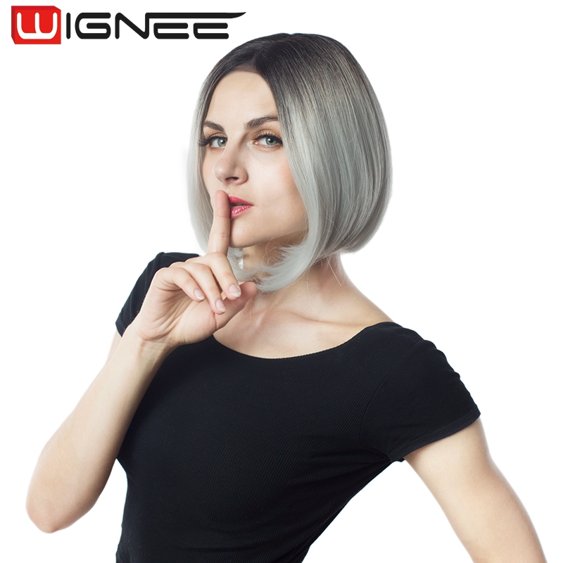 Wholesale Lace Front Bob Synthetic Hair Weaving Wig Ombre Grey Color Wig For Women