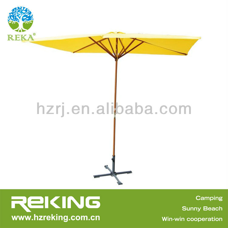 Yellow Printing Wooden Patio Umbrella