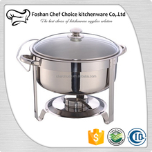 Heavy Duty 7Liter Round Glass Lid Chafing Dish Stainless Steel Chafing Dish With Glass Lid Alcohol Heat Chafing Dish Top Glass