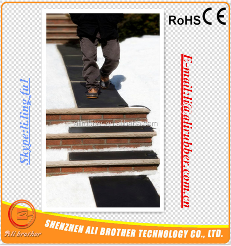 "Flexible Silicone Rubber Heater for Stair Snow Melting Mat 10""*36""(254*914.4*1.5mm) 120v 500w 1000mm lead come out from short"