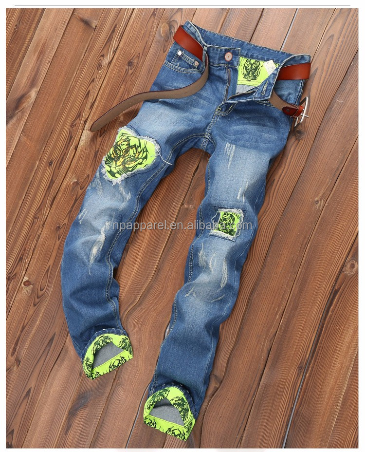 Fashion men embroideried tiger patches denim legging jeans with print