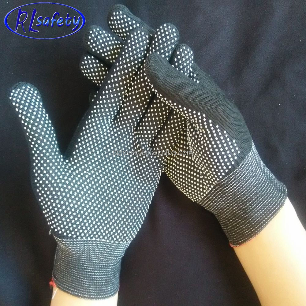 customized good quality gloves computer machine making mini pvc dotted nylon gloves