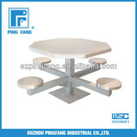 Floor Mounted 4 Man Metal Pedestal Table with stainless steel top