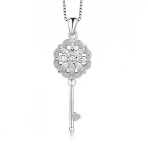 Trendy Fashion 925 sterling key Pendant Necklace paved AAA zircon high quality