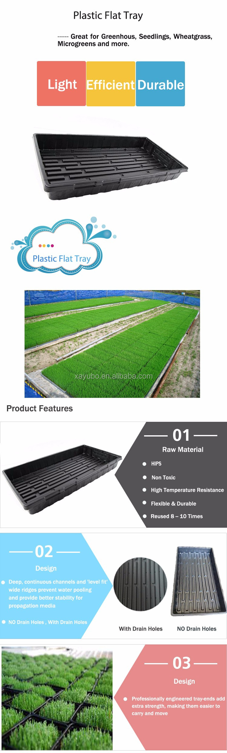 Hot Sale Reuse Black Plastic Flat Tray With Holes For Microgreens