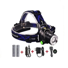 USB Rechargeable Zoom Camping Headlamp Torch 3 Modes t6 Adjustable Bright LED Headlamp