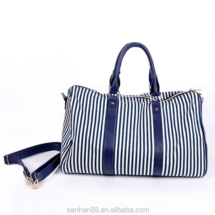 Modern useful navy nylon travel duffle bag