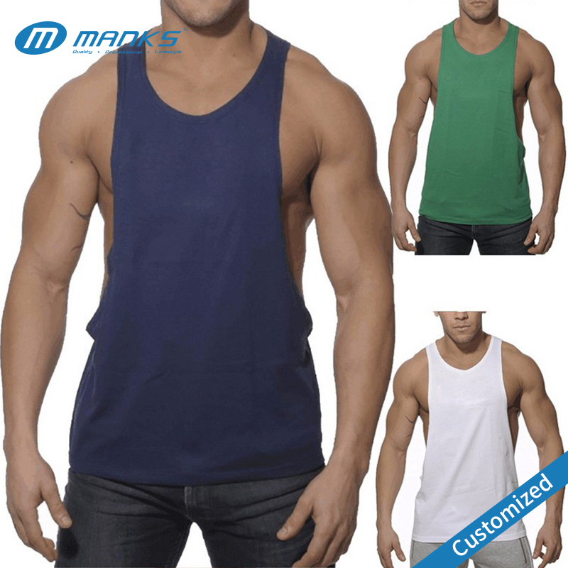 Custom New Design Men Drop Armhole Fitness Print Logo Cheap Tank Top