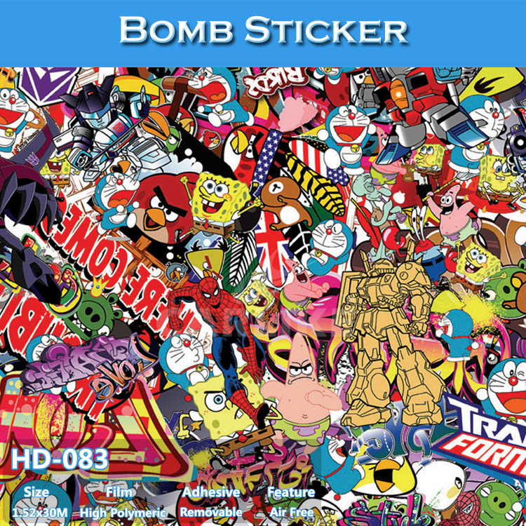 HD-083 Air Bubble Free High Definition Car Body Wrapping Film Design Bomb Sticker