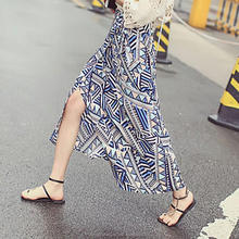 monroo Irregular Geometric Print 2017 Women Pleated Skirt Summer Fresh Cool Ankle Length Long Skirts
