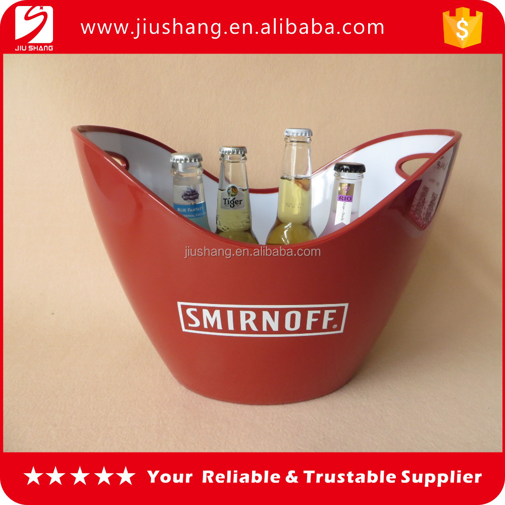 Red ship shaped double wall plastic wine ice bucket beer can holder