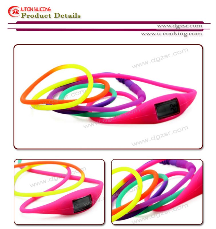 Silicone wristband ion watches