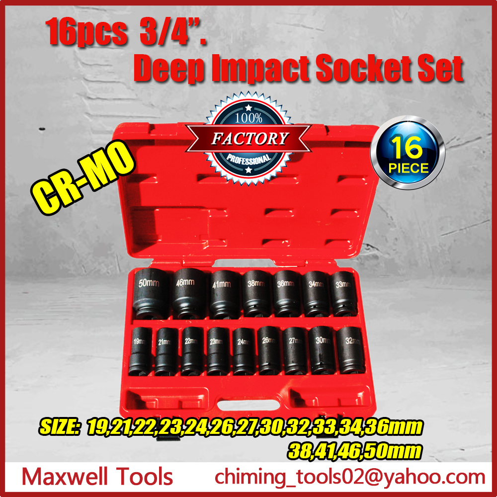 "Top Quality Maxwell Tools 3/4"" Drive 16PCS CRMO Deep Air Impact Socket Set With Blow Mould Case"