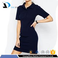 Daijun oem fashion cotton blank no label short sleeve sex women polo dress shirts