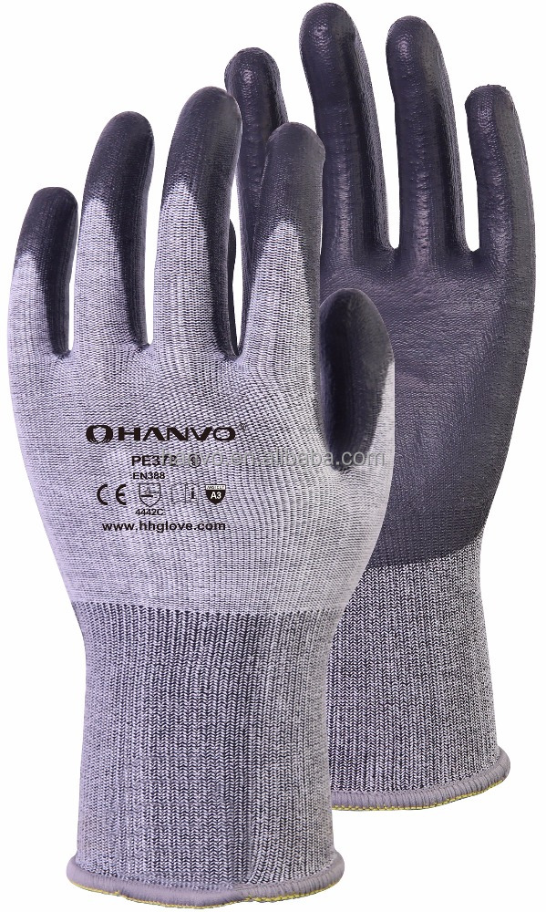 13G Dyneema Diamond cut resistant gloves with black PU coating