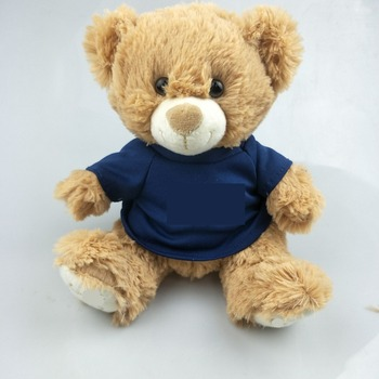 2018 Promotion gift custom plush toy 20cm teddy bear with t shirts Wholesale mini sublimation plush soft toy teddy bear