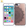PU Leather hybrid Laser Engraving Cell Phone TPU PC for iPhone 7 8 Plus Case