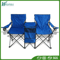 Good Price Aluminum Metal Double Folding Camping Chair With Table