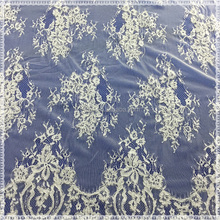 Lace fabrics wholesale white custom flower design french net tulle lace fabric
