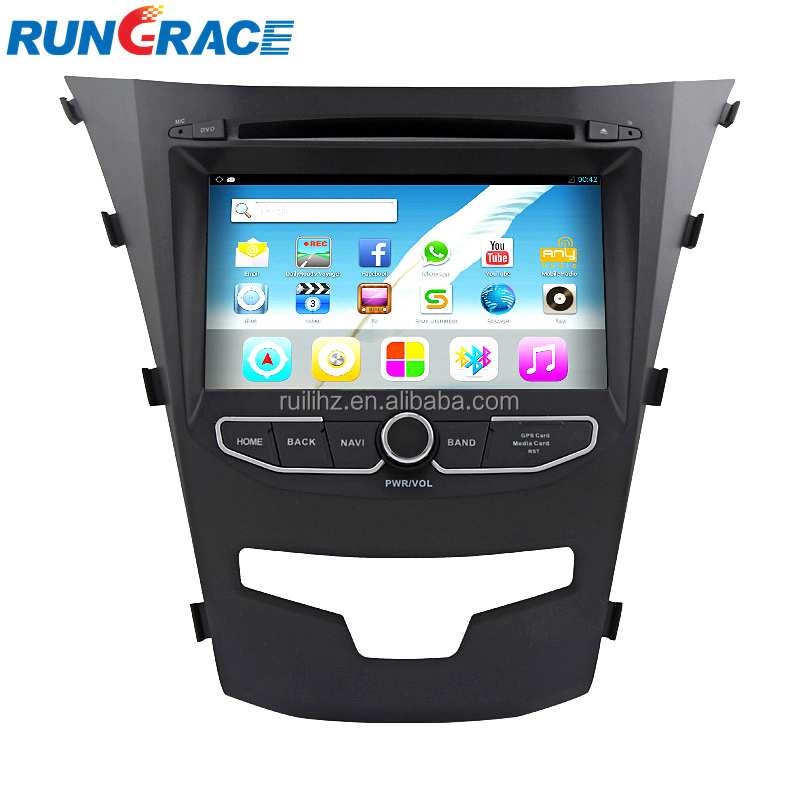 RUNGRACE 7 Inch car radio Touch Screen Bluetooth OEM double din android car dvd gps for ssangyong koranto