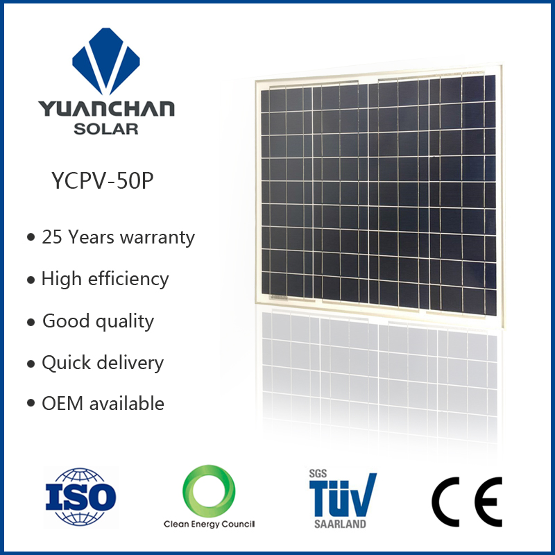 Top quality and lower price Yuanchan <strong>poly</strong> 50 watt solar panel normal specification and commercial application
