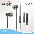 2017 mobile earphone earbuds with microphone Wired stereo earbuds in-ear headphone Sports Earbuds Factory Wholesale (Wennda L11)