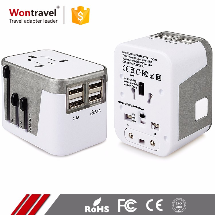 Low MOQ Custom Print Unique Universal Travel Adapter EU UK Plug Charger 4USB 220V AC Adaptor